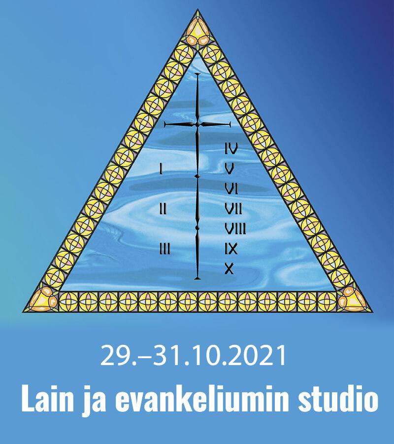 Lain ja evankeliumin studio -tapahtuman mainos